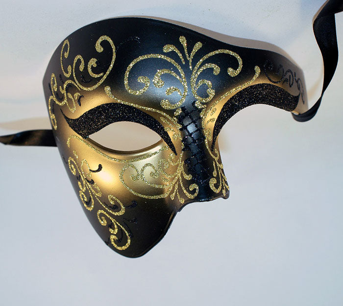 Phantom of the Opera Style Masquerade Masks Black and Gold