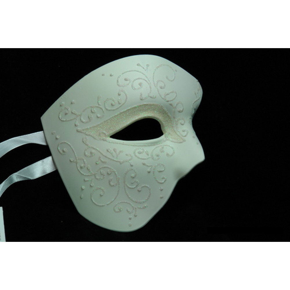 Phantom Of the Opera Masquerade Mask Elegantly Detailed Glitter Lining