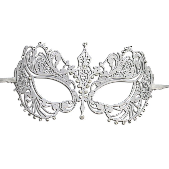 Laser Cut Metal White Masquerade Mask with Sparkling Clear Crystals