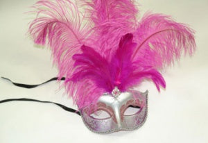 Silver Masquerade Mask with Hot Pink Feather and Jewel