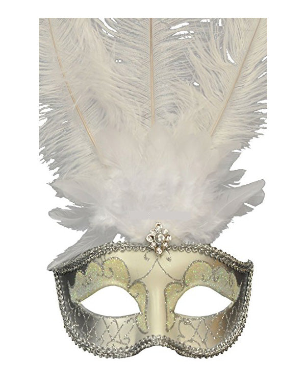 Silver Masquerade Mask with White Feather and Jewel