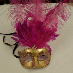 Gold Venetian Mask with Hot Pink Feather and Jewel