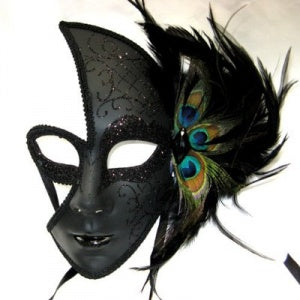 Full Face Female Black Venetian Mask with Peacock Feather