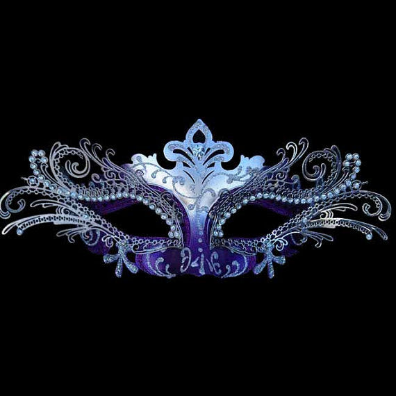 Silver and Purple Laser Cut Metal Masquerade Mask with Crystals on Eyes