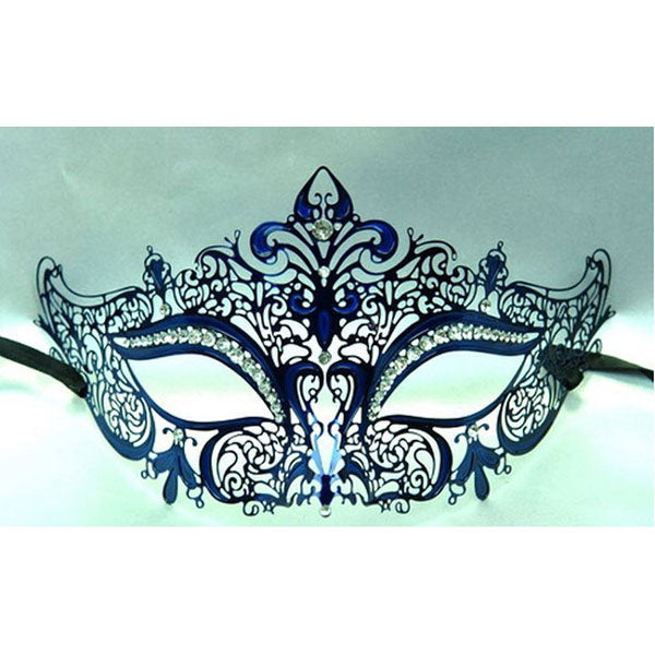 Navy Blue Laser Cut Metal Venetian Mask with Clear Diamonds