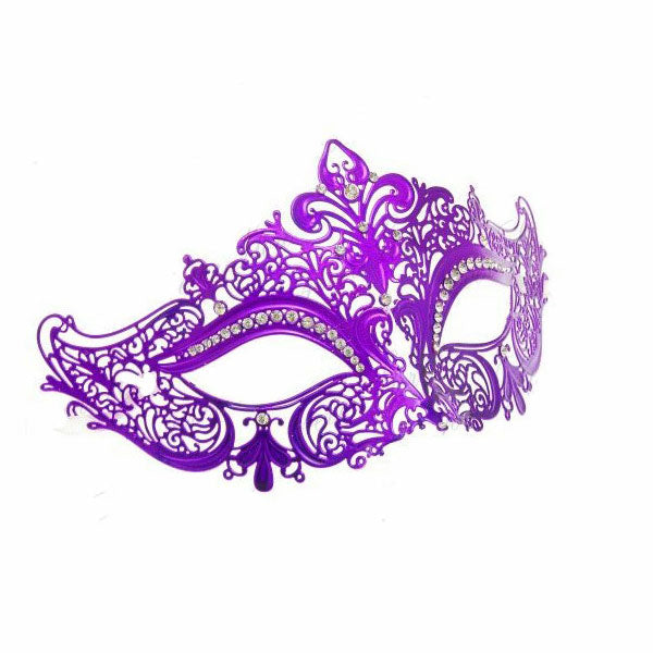 Purple Laser Cut Metal Venetian Mask with Clear Diamonds