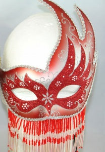 Red Beaded Masquerade Mask