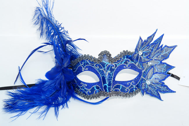 Blue Masquerade Feather Mask Venetian Style Halloween Mask