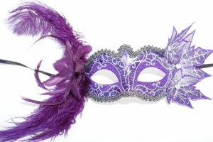 Purple and Silver Masquerade Mask with Feathers