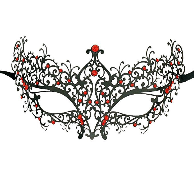 Lady Laser Cut Metal Black Venetian Masquerade Mask with Red Crystals