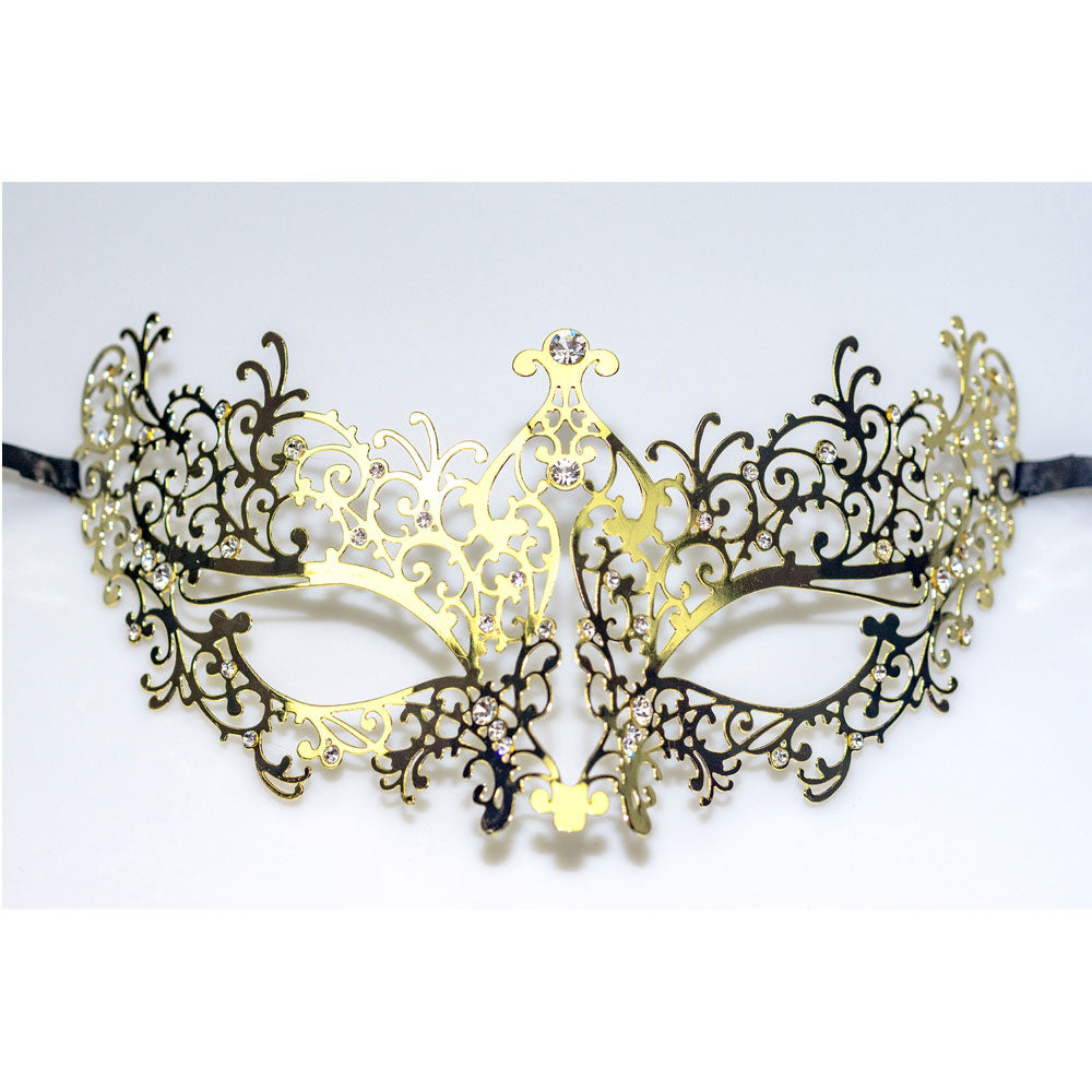 Lady Laser Cut Metal Gold Venetian Masquerade Mask with Crystals