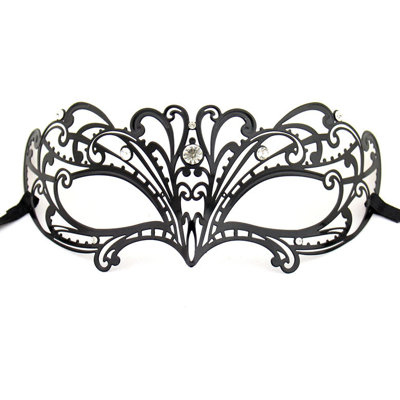 Lady Half Face Venetian Laser Cut Metal Mask with Sparking Rhinestones