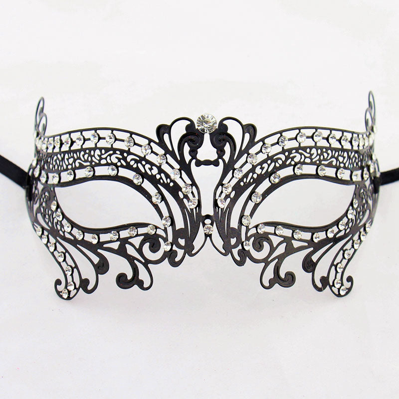 Double Swan Metal Laser Cut Masquerade Mask with Clear Diamonds