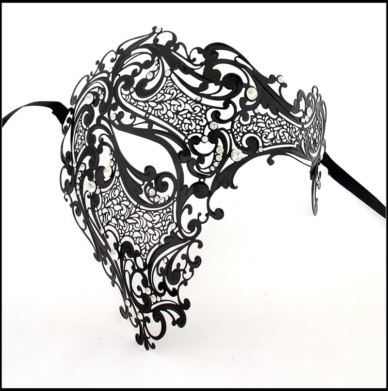 Men Black Skull half Face Laser Cut Metal Masquerade Mask with Clear Crystals
