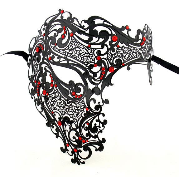 Men Devil Skull Laser Cut Half Face Black Masquerade Mask