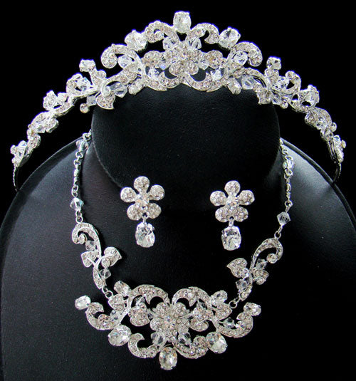Austrian Crystal Couture Tiara Jewelry Set
