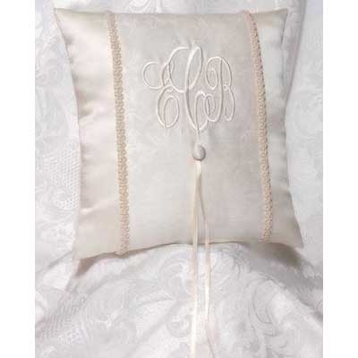 Brocade Monogram Wedding Ivory Ring Bearer Pillow
