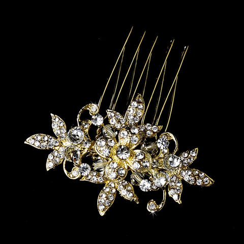 Darling Crystal Bridal Flower Wedding Hair Comb Pin Silver or Gold