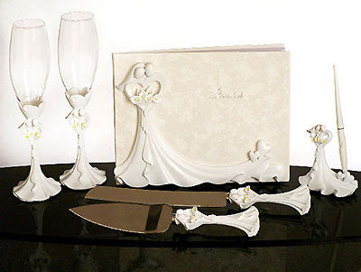 Bride and Groom Calla Lily Wedding Accessories Set