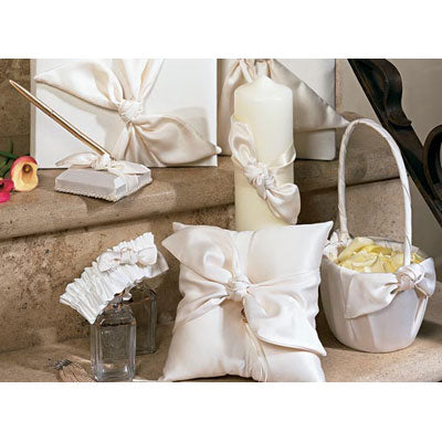 Love Knot Ivory Wedding Accessories Set: Guest Book Pen Ring Pillow Basket