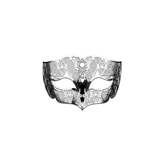 Male Masquerade Masks Laser Cut Metal Mask for Men Silver Color