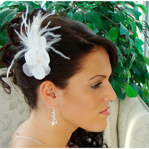 Bridal Feather Fascinator on a Comb White or Ivory