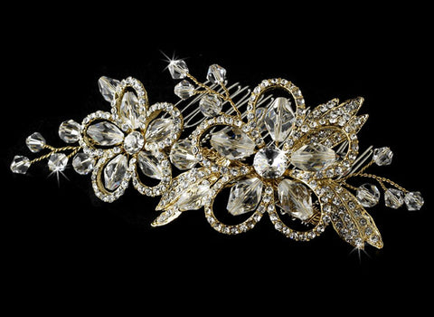 Swarovski Crystal Bridal Side Comb - Gold