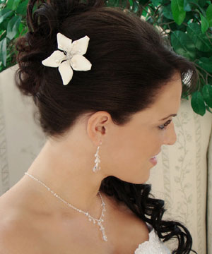 Starfish Orchid Style Bridal Comb with Crystals