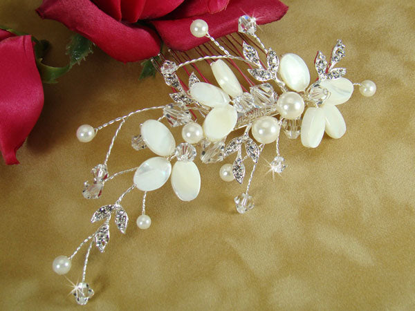 Beach Wedding Shell Hair Comb and Brooch