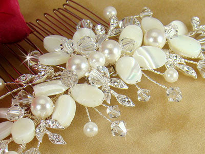 Ivory Shell Accent Bridal Comb Beach Wedding Hair Accessories