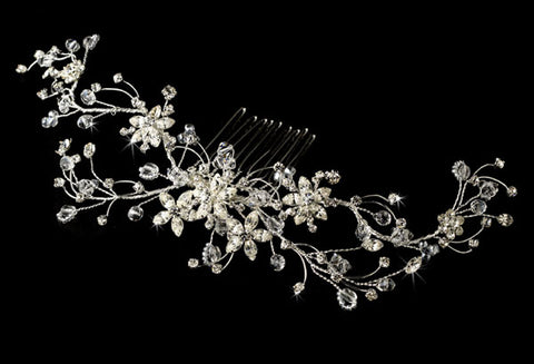 Elegant Silver Vine and Swarovski Crystal Bridal Hair Comb