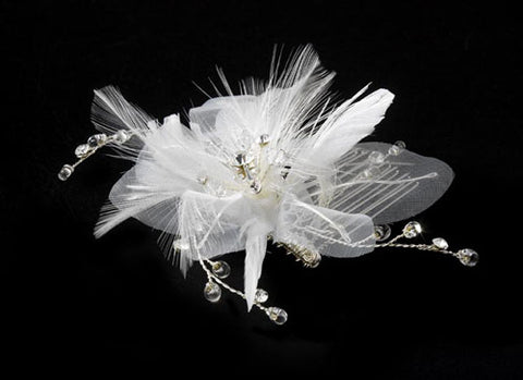 Delightful Flower Bridal Comb with Soft Feathers & Rhinestones Feather Fascinator