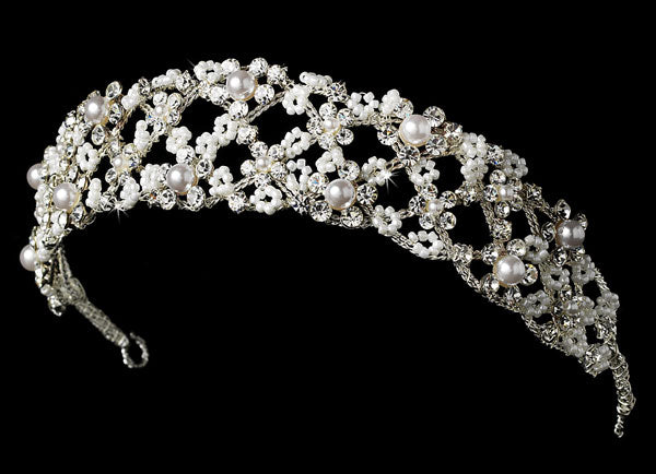 Flexible Rhinestone & Pearl Bridal Headband