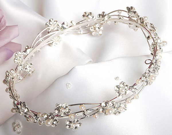 Crystal & Pearl Bunwrap Bridal Headpiece