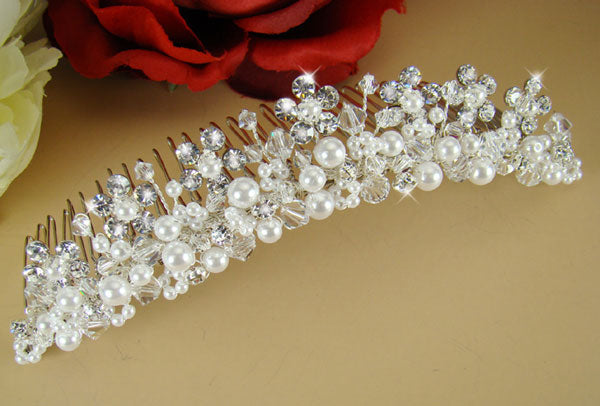Swarovski Crystal & Pearl Bridal Comb in White or Ivory