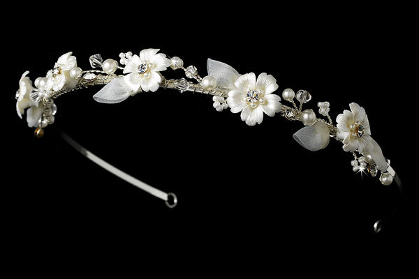 Bridal Headband Ivory Porcelain Flowers Tiara Headband