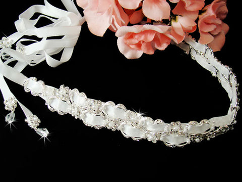 Bridal Headband Double Satin Ribbon with Rhinestones