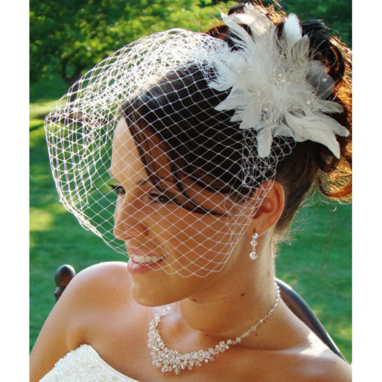 Bridal Feather Hair Fascinator with Removable Russian Cage Veil