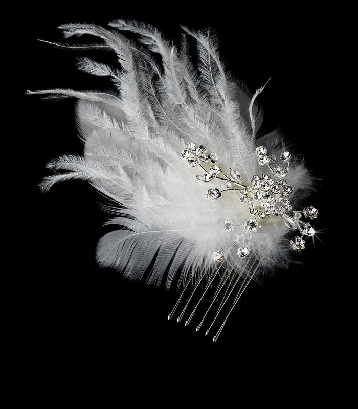 Feather Bridal Comb Hair Headpiece in White or Ivory