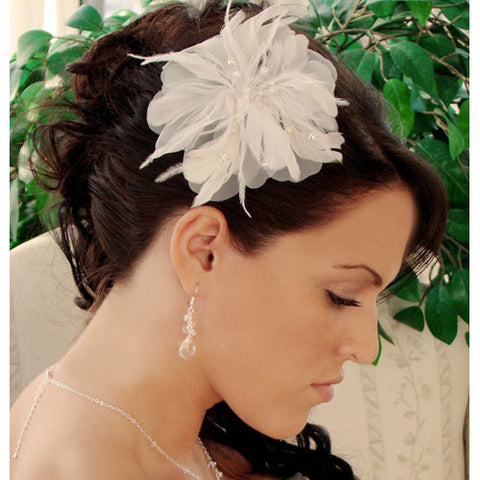 Freshwater Pearl and Rhinestone Feather Fascinator White/Ivory