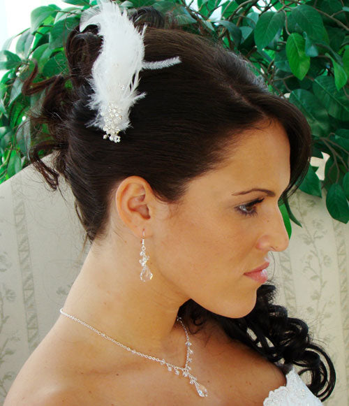 Bridal Feather Fascinator on Comb with Crystals & Pearls