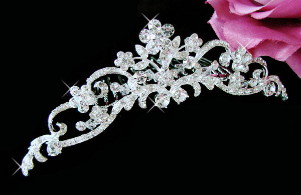 Floral Bridal Comb with Swarovski Crystals