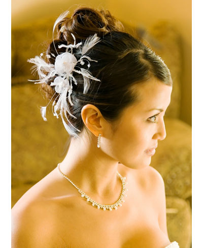 Bridal Hair Comb with Feather Flower Accent White or Ivory