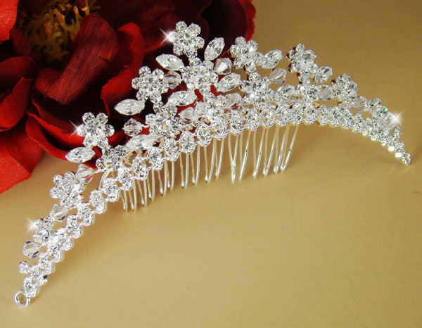 Swarovski Crystal Bridal Comb with Floral Accents