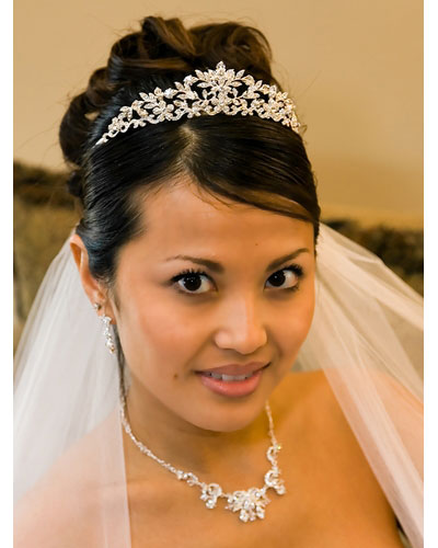 Swarovski Crystal Tiara with Flower & Vine Design