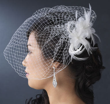 Delicate Floral Feather Fascinator with Bird Cage Veil White or Ivory