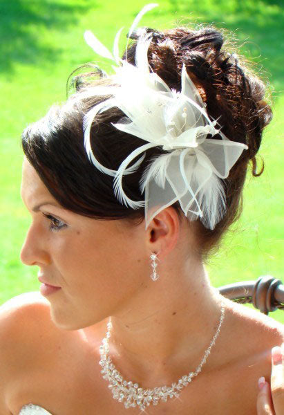 Floral Feather Fascinator Bridal Hair Clip Headpiece White or Ivory