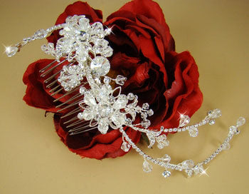 Swarovski Crystal Bridal Side Hair Comb - Gold or Silver