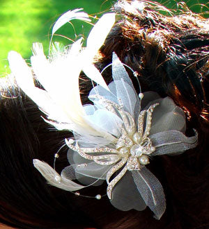 Vintage Feather Fascinator Ivory Bridal Hair Piece