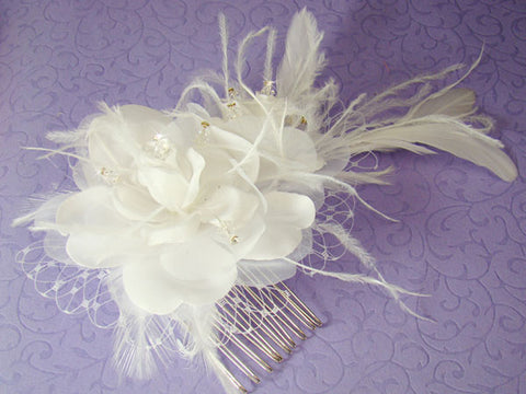 Floral Feather Fascinator Russian Veiling Accent -White/Ivory